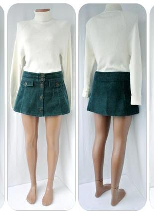 Фирменная вельветовая (100% коттон) юбка-мини topshop.размер uk 10 (м).