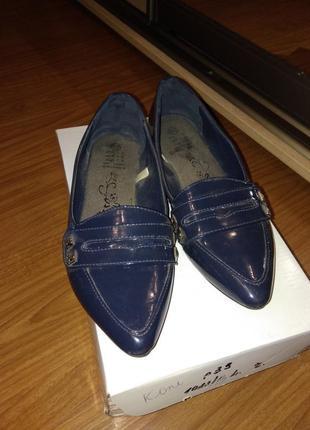 Лаковые синие балетки