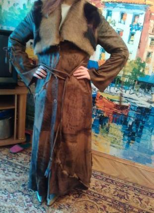 Пальто натур.кожа и мех оленя 46-50