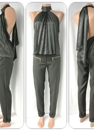 Оригинальная брендовая плиссированная черная блузка look. размер uk12(m).