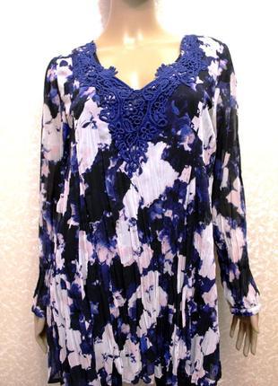 Новая! красивая блуза жатка с кружевом 10-12