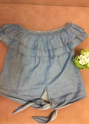 Джинсовая блузочка, открытые плечи