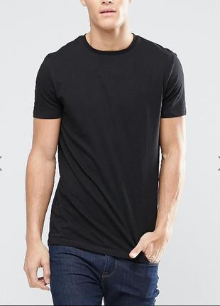 Базовая черная однотонная мужская футболка 100%коттон испания размеры
