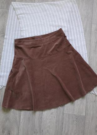 Вельветовая светло-коричневая юбка tu