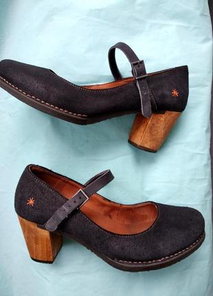 Замшевые ортопедические  туфли с напыление art испания