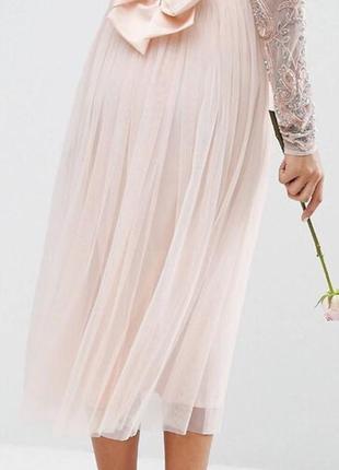 Крутая юбка фатиновая, юбка миди, фатин, нюдовая юбка