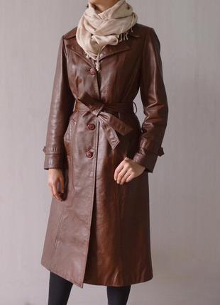 Немецкий кожаный плащ тренч пальто миди из натуральной кожи
