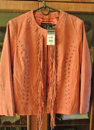 Ультрамодная замшевая куртка с бахромой