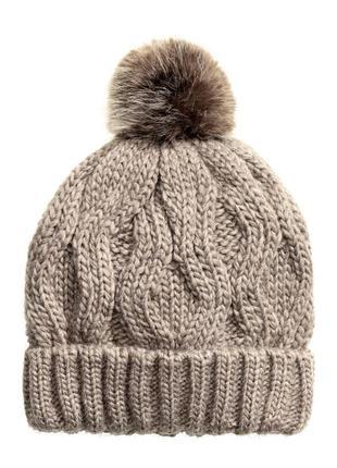 Вязаная шапка косами шерсть с помпоном от h&m