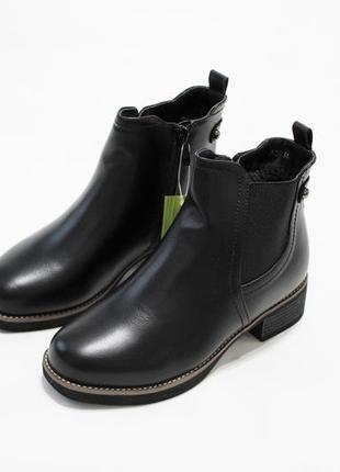 Стильные женские черные зимние ботинки челси (ботильйоны)
