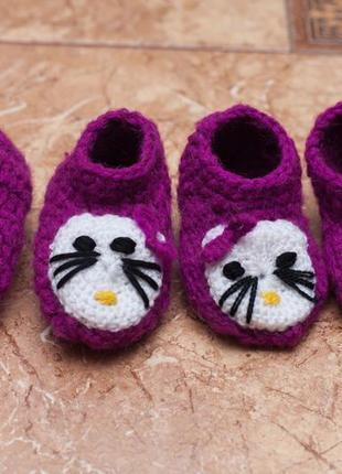 Пинетки вязаные тапочки hello kitty