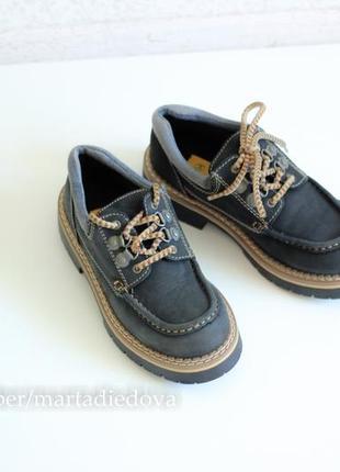 Кожаные ботинки туфли топсайдеры, на платформе, натуральная кожа