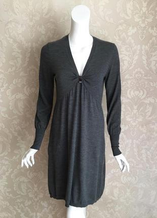 Brunello cucinelli оригинал италия серое трикотажное шерстяное платье