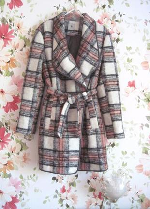 Шерстяное пальто-бойфренд в шотландскую клетку tu