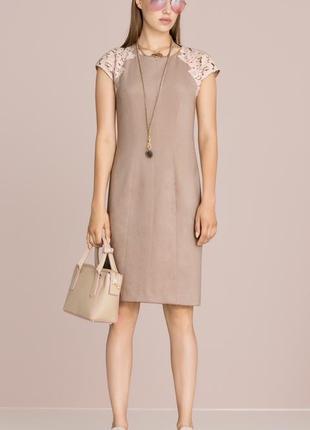 Marc cain италия нарядное платье футляр кружево велюр max mara бежевое