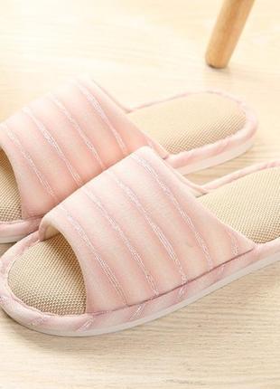 Домашние тапочки-шлепки розовые