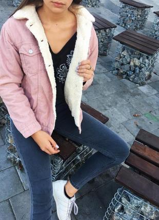 Тёплая шерпа розовая шерпа вельветовая куртка