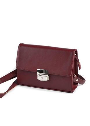 Бордовая маленькая сумка через плечо кросс боди с клапаном на защелке