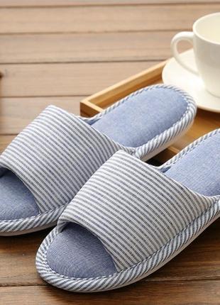 Домашние тапочки-шлепки полоска синие