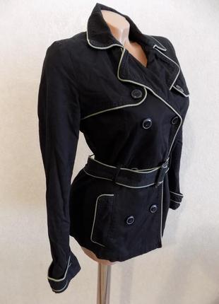 Куртка ветровка удлиненная на пуговицах черная фирменная mango размер 42