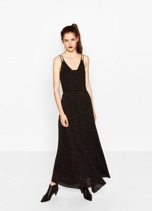 Премиальное блестящее платья макси zara