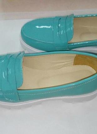 Кожаные яркие туфли 36р