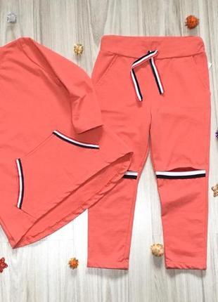 Стильный повседневный костюм для девочки италия размеры 4-14 (корал)