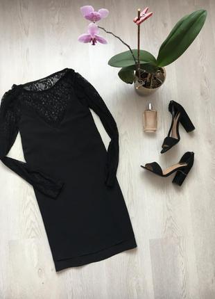 Черное платье с кружевом, кружевное нарядное вечернее
