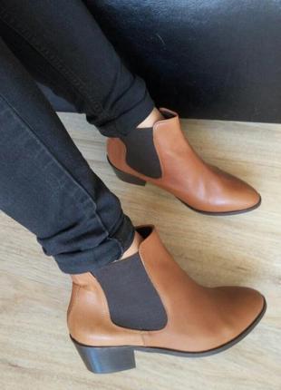 40-41р кожа!новые франция andre ,рыжие ботинки,челси