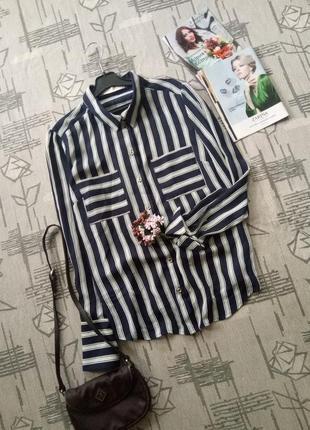 Стильная рубашка,блуза в полоску!размер 12-14
