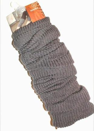 Теплые, длинные, осенне- зимние гетры, серый, модный аксессуар, c&a
