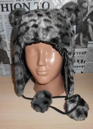 Зимняя теплая меховая женская шапка ушанка f&f, оригинал