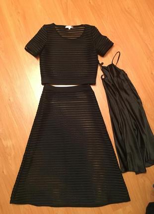 Продам костюм чёрный юбка и кофта топ
