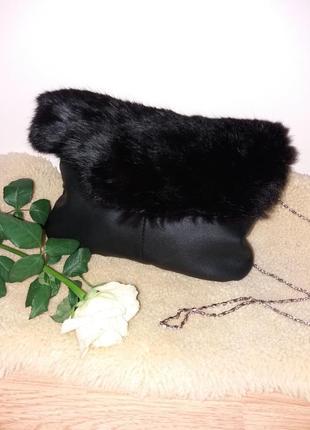 Красивая,модная сумка из натуральной кожи с мехом,новая