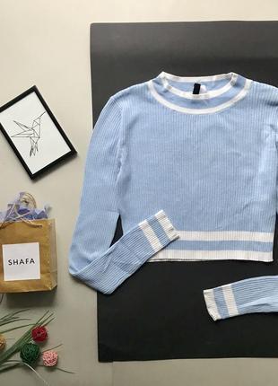 Стильный укороченый голубой гольф в рубчик / голубой топ свитер в обтяжку