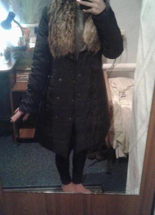 Пальто черное, мех лисица