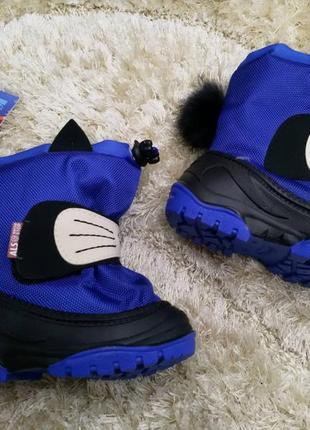 Детские зимние водонепроницаемые сноубутсы alisa line, 100% овчина, синие.