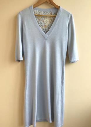Комплект голубое вязаное платье и сумка
