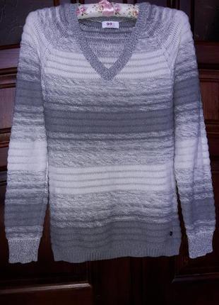 """Тонкий свитер, джемпер """"серый омбре"""" коттон 100%"""