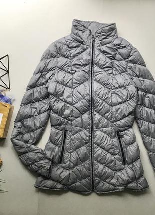 Легкая дутая серая куртка пуховик / пальто пуховик /натуральный пух /дутик
