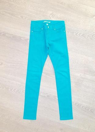 Узкие джинсы, скинни denimco. s/m. бирюзовые.