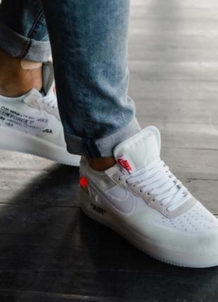 40 41 42 43 44 топовая модель мужских кроссовок nike air force 1 x off white белые