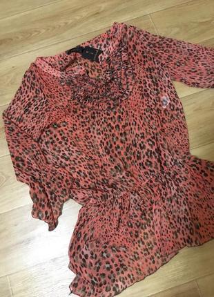Нежная легкая блуза в леопардовый принт patchwork