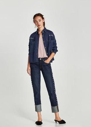 Шикарные джинсы-сигареты zara с жемчугом, 34р, оригинал, испания