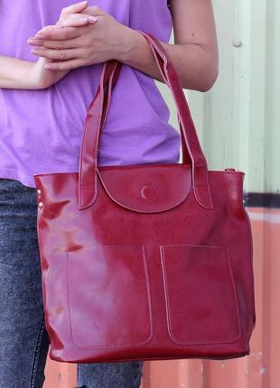 Кожаная сумка для документов, на каждый день, цвет бордо