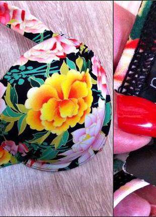 Раздельный купальник бикини с двойным пуш ап и сочным цветочным принтом,чашка 85 с2 фото