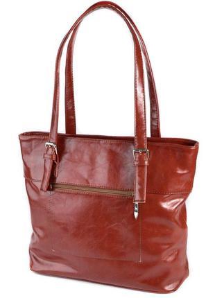 Коричневая женская сумка корзинка с длинными ручками на плечо