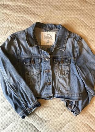 Джинсова коротка куртка-піджак