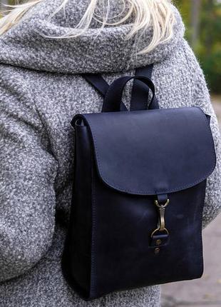 Кожа. ручная работа. кожаный синий рюкзак, рюкзачок