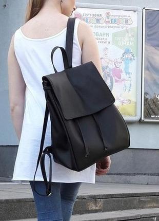 Новый большой чёрный женский рюкзак экокожа для прогулок, учебы, ноутбука